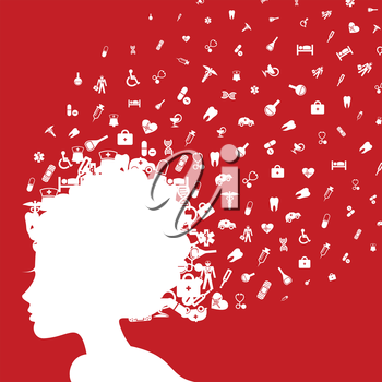 From the girl the hairdress flies medicine. A vector illustration