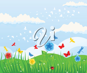 Spring solar background and grass. A vector illustration