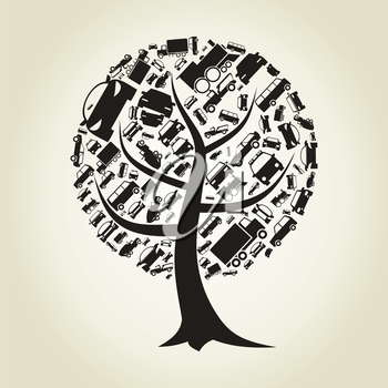 Tree made of cars. A vector illustration