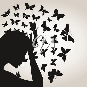 From a head of the girl the butterfly flies. A vector illustration