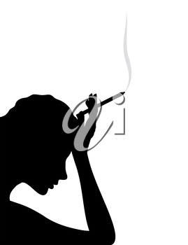 The girl thinks and smokes a cigarette. A vector illustration