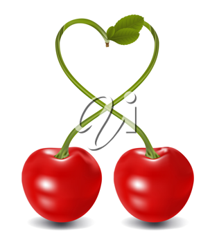 Royalty Free Photo of a Cherries With Stems Forming a Heart