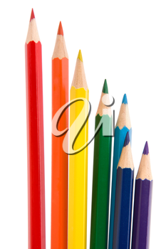 Colouring crayon pencils bunch isolated on white background