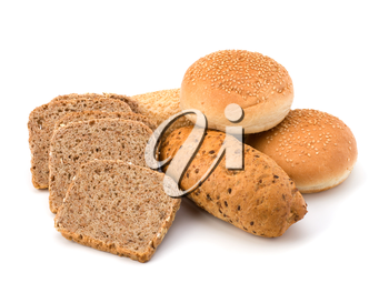 Bread loafs and buns variety isolated on white background