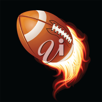 Royalty Free Clipart Image of a Flaming Football