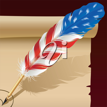 Royalty Free Clipart Image of a Feather Pen
