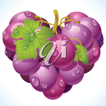 Royalty Free Clipart Image of a Grape Heart