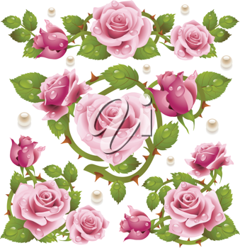 Royalty Free Clipart Image of a Rose Design Elements