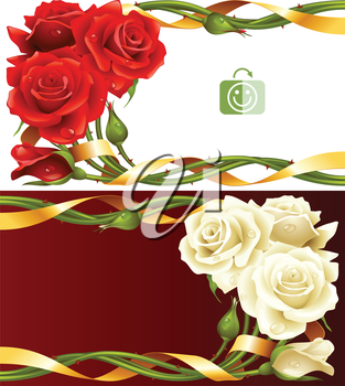 Vector horizontal frame set of red and white roses intertwined with a golden ribbon