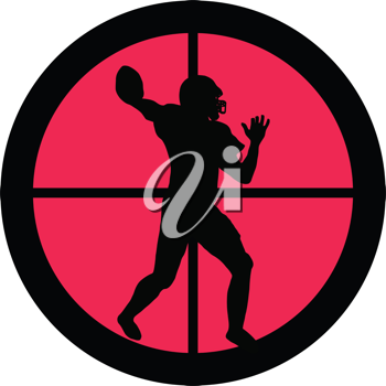 In the scope series – American Football in the crosshair of a gun's telescope. Can be symbolic for need of protection, being tired of, intolerance or being under investigation.