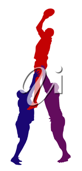 Royalty Free Clipart Image of a Supported Rugby Lineout Jumper
