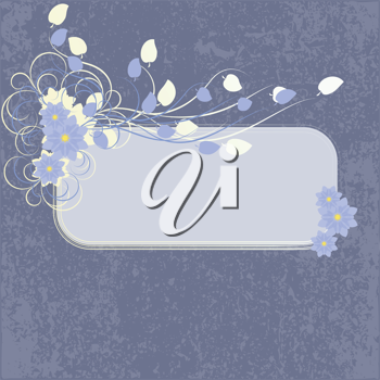 Royalty Free Clipart Image of a Floral Frame on Blue