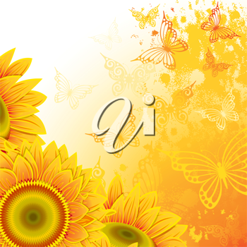 Royalty Free Clipart Image of a Butterfly and Sunflower Background