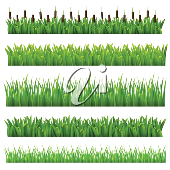 Royalty Free Clipart Image of a Set of Grass Borders
