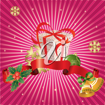 Royalty Free Clipart Image of a Christmas Background With a Gift, Holly, Bells and Snowflakes