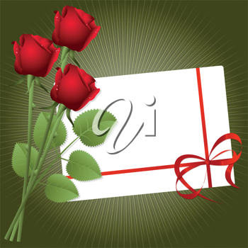 Royalty Free Clipart Image of Three Red Roses and an Envelope on a Green Background