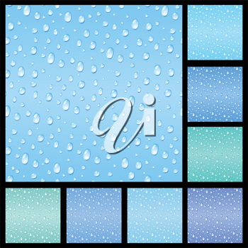 Royalty Free Clipart Image of a Set of Raindrop Backgrounds