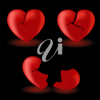 Royalty Free Clipart Image of Three Hearts in Different Conditions