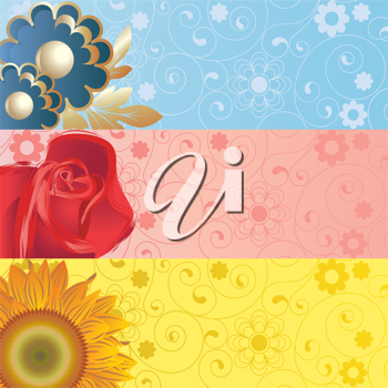 Royalty Free Clipart Image of Three Banners