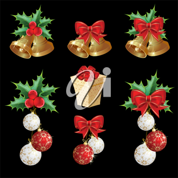 Royalty Free Clipart Image of a Set of Christmas Images