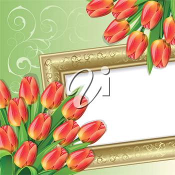 Royalty Free Clipart Image of Tulips and a Frame