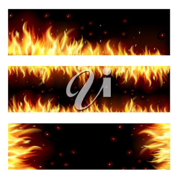 Set of backgrounds with flame. EPS10. Mesh. This file contains transparency. Clipping Mask.