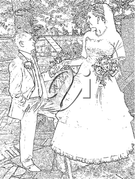 Royalty Free Clipart Image of a Wedding