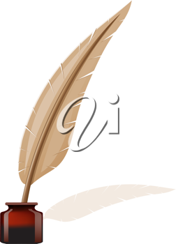 Royalty Free Clipart Image of a Quill and Ink-Pot
