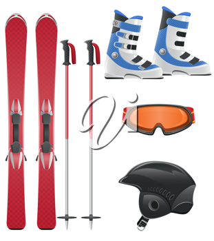 Royalty Free Clipart Image of Ski Equipment