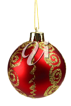 red ball decoration for a ?hristmas tree isolated on white background