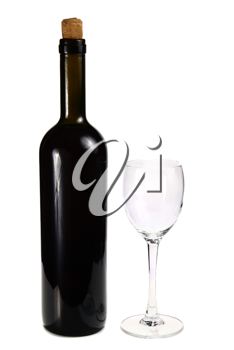 bottle with red wine and glass isolated on white background