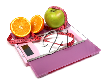 floor scales measuring ribbon apple and orange isolated on white background