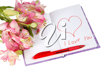 notebook with flowers by a heart and inscription isolated on white background