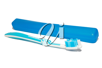 tooth-brush and box  isolated on the white background