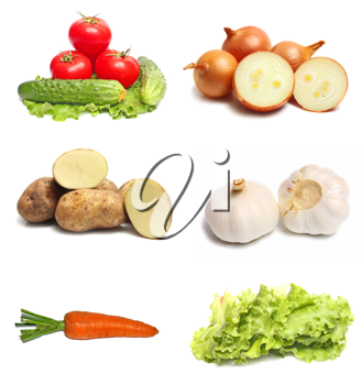 much fresh vegetables isolated on white background