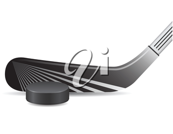 hockey stick and puck vector illustration isolated on white background