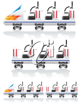 trailers for roller coasters vector illustration isolated on background