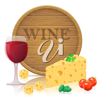 still life with cheese and wine vector illustration isolated on white background
