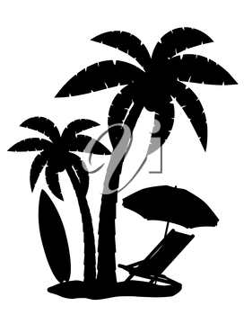 silhouette of palm trees vector illustration isolated on white background
