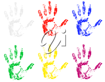 handprint of different colors vector illustration isolated on gray background