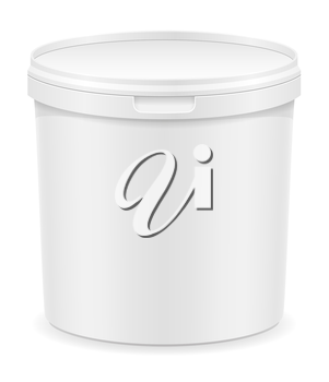 white plastic container for ice cream or dessert vector illustration isolated on background