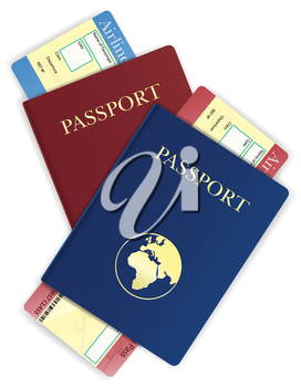 passport and airline ticket vector illustration isolated on white background