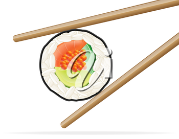 sushi and chopsticks vector illustration isolated on white background