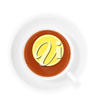 porcelain cup of tea with lemon vector illustration isolated on white background