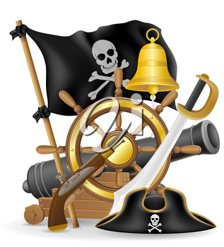 pirate concept icons vector illustration isolated on white background