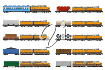 set icons railway carriage train vector illustration isolated on white background