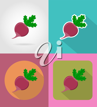 radishes vegetable flat icons with the shadow vector illustration isolated on background