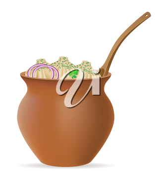 dumplings khinkali of dough with a filling and greens in clay pot vector illustration isolated on white background