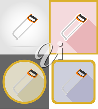 saw repair and building tools flat icons vector illustration isolated on white background