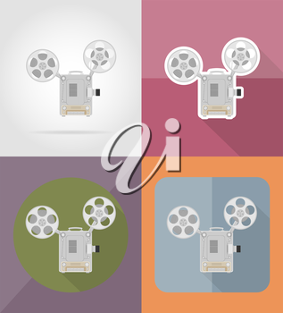 old retro vintage movie film projector flat icons vector illustration isolated on background